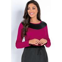 Blusa Púrpura Com Recorte Em Cirrê Na Frente