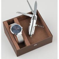 Kit De Relógio Analógico Mondaine Masculino + Canivete - 53592G0Mgne3K Prateado - Único