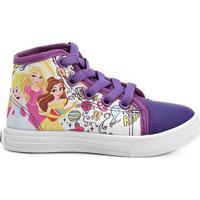 Tênis Disney Princesas Cano Alto Infantil - Feminino-Roxo+Branco