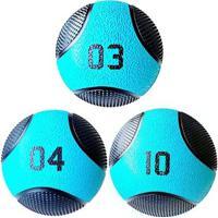 Kit 3 Medicine Ball Liveup Pro 3 4 E 10 Kg Bola De Peso Treino Funcional - Unissex