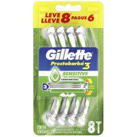 Aparelho De Barbear Descartável Gillette Prestobarba 3 Sensitive 8 Unidades 8 Unidades