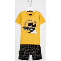 Conjunto Infantil Camiseta Estampa Batman E Bermuda Com Bolso Canguru - Tam 1 A 4 Anos