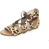 Sandalia Gladiadora Top Franca Shoes Feminina - Feminino-Bege