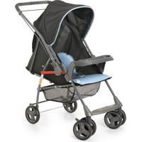 Carrinho De Bebê Sorano Preto/Azul Encosto Regulável - Galzerano