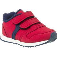 Tênis Bebê Klin Mini Walk Velcro Masculino - Masculino-Vermelho+Marinho
