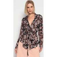 Blusa Floral Com Transpasse- Verde Escuro & Rosa Claroenna