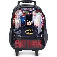 Mochila Escolar Infantil Pacific Com Rodas 16 Batman Danger - Masculino-Preto