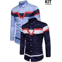 Kit 2 Camisas Slim Fit Triple Color - Azul Clara E Azul Escuro