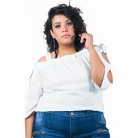 Blusa Plus Size Em Crepe Com Vazados Nas Mangas Lenner Plus - Feminino-Branco