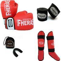 Kit Boxe Muay Thai Oríon Luva Bandagem Caneleira Bucal 08 Oz - Unissex