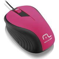 Mouse Emborrachado Rosa Com Preto Multilaser - Mo223