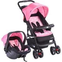 Carrinho De Bebê Com Bebê Conforto Cosco - Unissex-Rosa