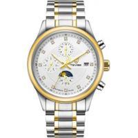 Relógio Tevise T8122A Masculino Automático Pulseira Aço - Branco E Dourado