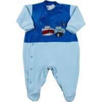 Macacão Bebê Plush Liso E Listrado Barcos A Vela - Masculino