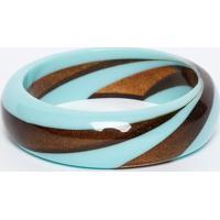 Pulseira Com Aspecto Resinado- Azul Claro & Marrom Escurgregory