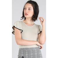 38762b3674 CEA  Blusa Feminina Em Tricô Manga Curta Decote Redondo Bege Claro
