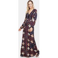 Vestido Longo Tecido Com Cinto Selaria - Lez A Lez