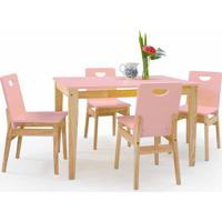 Conjunto De Mesa De Jantar Com 4 Cadeiras Tucupi 120Cm - Acabamento Stain Natural E Rosa Bebê