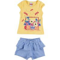 Conjunto Infantil Para Bebê Menina - Amarelo