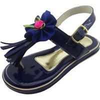 Sandã¡Lia Envernizada Com Flor- Azul Marinho & Rosa- Mz Kid