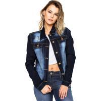 Jaqueta Jeans Jezzian Bordada Azul