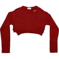 Blusa Cropped Com Termocolantes - Vermelho & Cinzaluluzinha