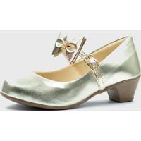 Sapato De Salto Pópidí Menina Laço Dourado