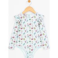 Body Infantil Com Estampa Floral - Tam 1 A 4
