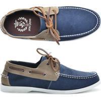 Mocassim Couro Shoes Grand Dockside Masculino - Masculino-Azul+Cinza