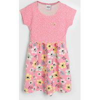 Vestido Elian Infantil Floral Rosa