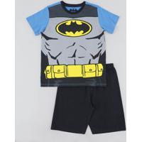 Pijama Infantil Batman Manga Curta Azul