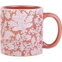 Caneca Scalla Le Arabesco Cerâmica Rosa 300Ml