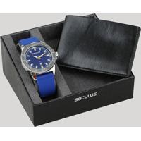 Kit De Relógio Analógico Seculus Masculino + Carteira - 23648G0Svni2K Azul - Único