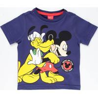 Camiseta Infantil Manga Curta Mickey Pluto Disney