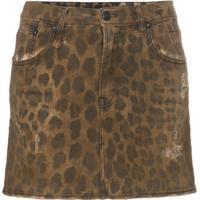 R13 High Rise Leopard Print Cotton Mini Skirt - Neutro