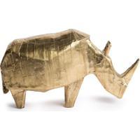 Pulpo Estátua De Rinoceronte Feita À Mão - Dourado