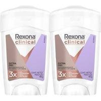 Kit 2 Desodorantes Rexona Antitranspirante Clinical Extra Dry 48G - Unissex-Incolor