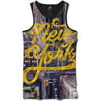 Camiseta Bsc Regata Nyc Street Full Print - Masculino-Preto