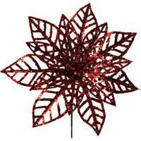 Flor Decoração Natal P/Árvore 20Cm Vermelho