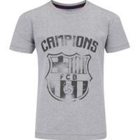 58b0607562 Camiseta Barcelona Brasão - Infantil - Cinza