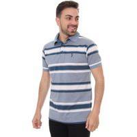 Polo Aleatory Masculina Classic Medium Stripes Blue Tones Azul
