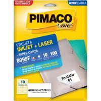 Etiqueta Adesiva Pimaco Carta Com 100 Unidades 146,56X77,79Mm