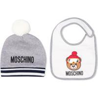 Moschino Kids Gorro E Babador Teddy Bear - Cinza