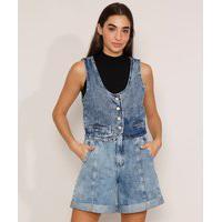 Colete Cropped Jeans Marmorizado Com Fivela Decote Redondo Azul Médio