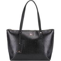 Shopping Bag Wj Textura Croco Preto -