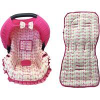 Conjunto Capa De Bebê Conforto E Capa De Carrinho Balão Alan Pierre Baby 0 A 13 Kg Rosa