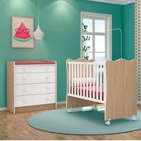 Quarto De Bebê Cômoda 4 Gavetas Doce Sonho E Berço Simples Carvalho/Branco - Qmovi