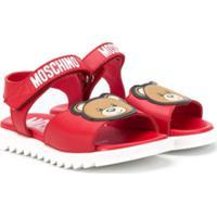 Moschino Kids Sandália Com Estampa De Logo - Vermelho