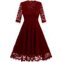 Vestido De Renda Com Saia Rodada E Manga Curta - Vermelho