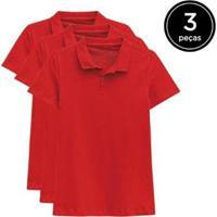 Kit 3 Camisas Polo Basicamente Feminino - Feminino-Vermelho
